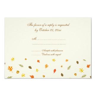 Elegant fall autumn leaves wedding rsvp flat card