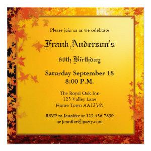 Elegant Fall Birthday Party Invitation