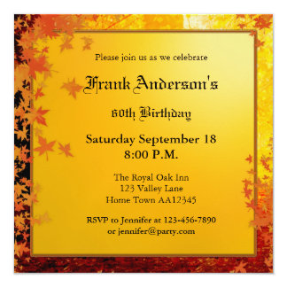 Elegant Fall Birthday Party Invitation