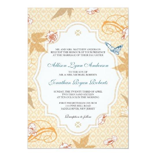 Elegant Fall Color Wedding Inviation: Elegant Fall Bohemian Autumn Wedding Invitation