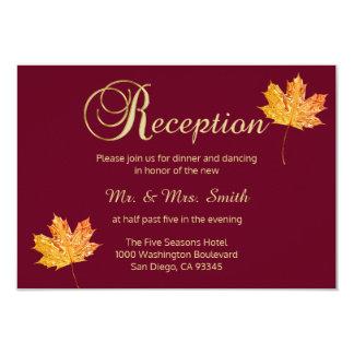 Elegant Fall Burgundy Gold Wedding RECEPTION Card