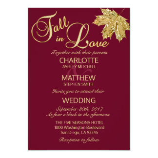 Elegant FALL in Love Burgundy Marsala Wedding Card