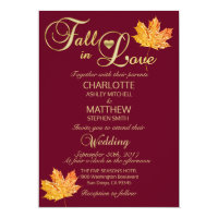 Elegant FALL in LOVE Burgundy Marsala Wedding Invitation