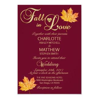 Elegant FALL in LOVE Burgundy Marsala Wedding Invitation