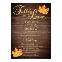 Elegant FALL in LOVE Burgundy Rustic Wedding Invitation