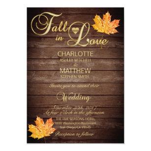 Elegant Fall In Love Burgundy Rustic Wedding Invitation