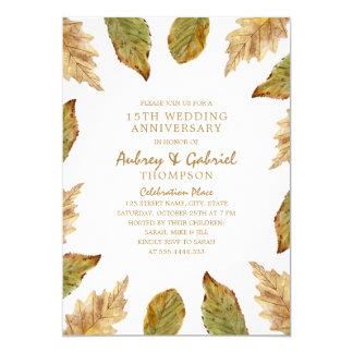 Elegant Fall Leaves 15th Wedding Anniversary Card
