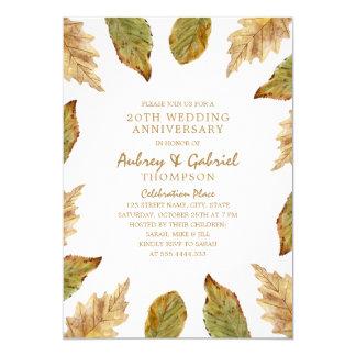 Elegant Fall Leaves 20th Wedding Anniversary Invitation