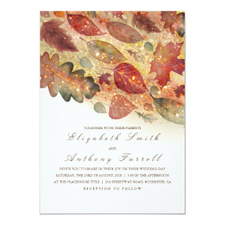Elegant Fall Leaves and Glitter Wedding Card