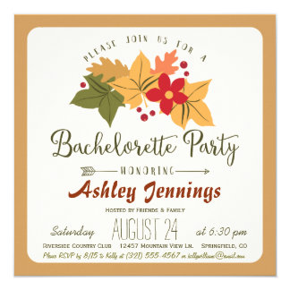 Elegant Fall Leaves & Berries Bachelorette Party Card