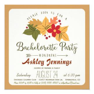 Elegant Fall Leaves & Berries Bachelorette Party Invitation