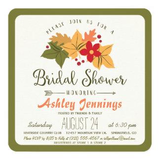 Elegant Fall Leaves, Floral Autumn Bridal Shower Card