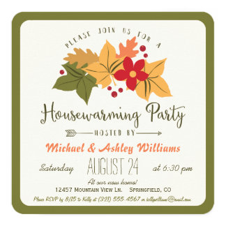 Elegant Fall Leaves, Floral Housewarming Party Card