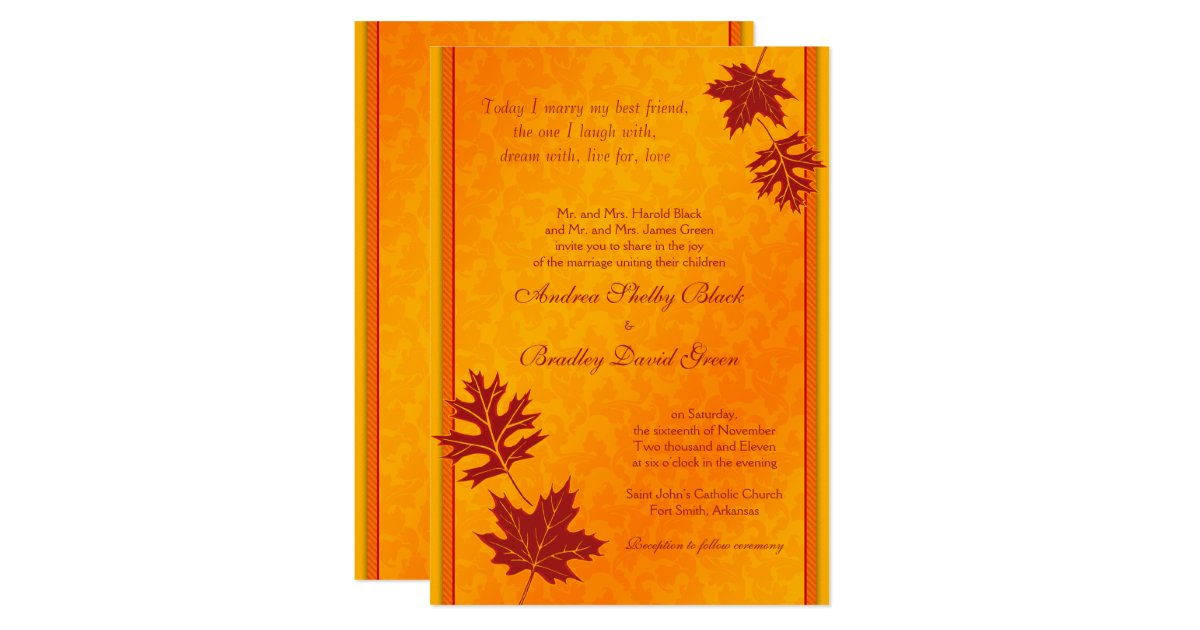 Elegant Fall Leaves Wedding Invitation   Zazzle