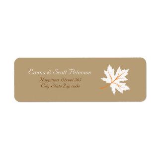 Elegant Fall Maple Leaf Return Address Label