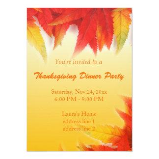 Elegant fall read leaves thanksgiving dinner party card