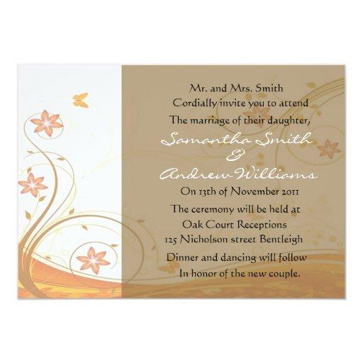 Elegant Fall Wedding Invitation   Zazzle