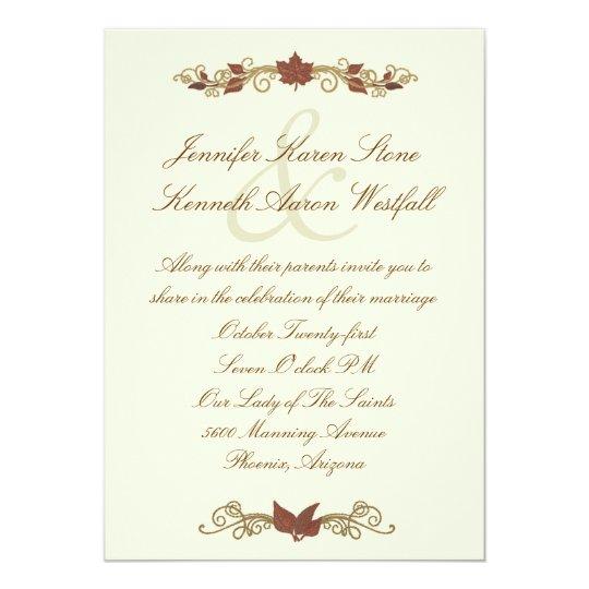 Elegant Fall Color Wedding Inviation: Elegant Fall Wedding Invitation