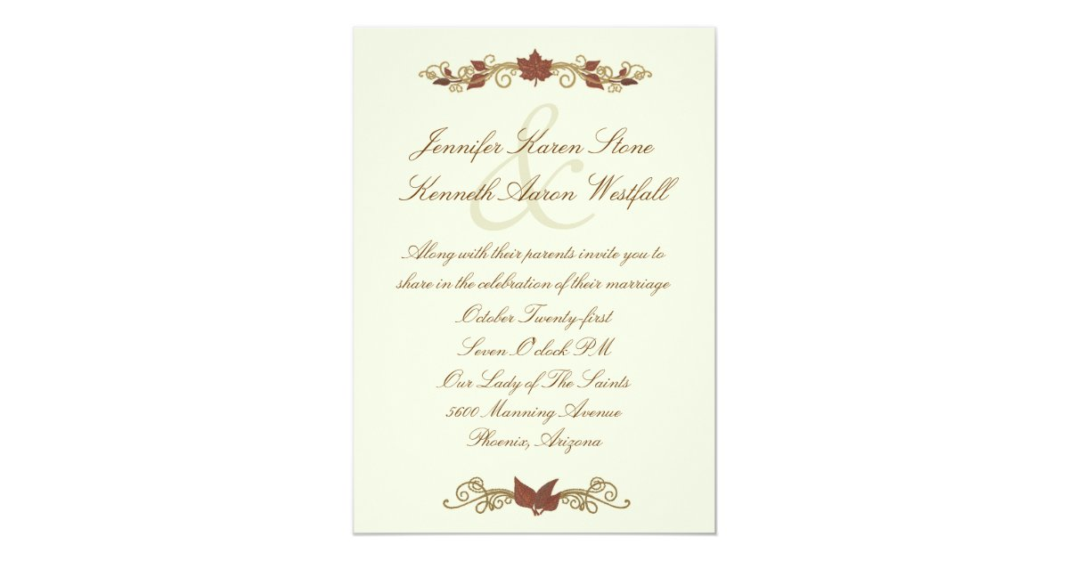 Elegant Fall Wedding Invitation | Zazzle.com