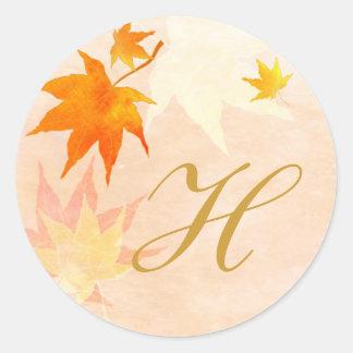 Elegant Fall Wedding Monogram Favor Classic Round Sticker