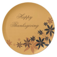 Elegant fall yellow leaves, Thanksgiving holiday Plate