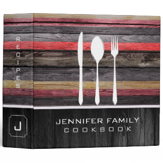 Elegant Family Cookbook Wood Look #20 3 Ring Binder