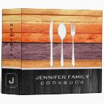 Elegant Family Cookbook Wood Look #32 3 Ring Binder
