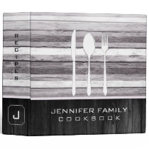 Elegant Family Cookbook Wood Look #9 3 Ring Binder