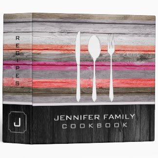 Elegant Family Cookbook Wood Look Binder
