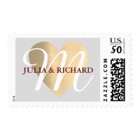 elegant family initial/names wedding love monogram postage
