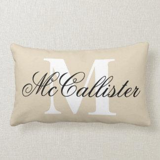 Elegant family name monogram lumbar pillow cushion