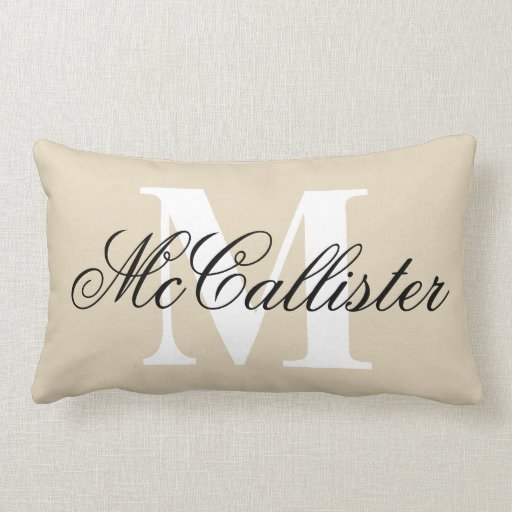 Elegant family name monogram lumbar pillow cushion
