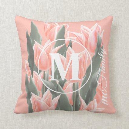 Elegant Family Name Monogram Peach Tulips Painting Throw Pillow
