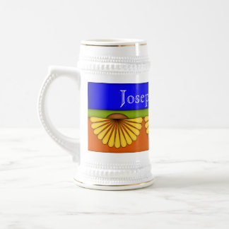 Elegant Fan Flower Ceramic Stein