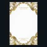 "Elegant Fancy Gold Swirl Stationery<br><div class=""desc"">Elegant gold stationery with gold swirls and gold text. You can customize with your details in the font style of your choice. This beautiful gold stationery is elegant and functional,  and you can add a background color.</div>"