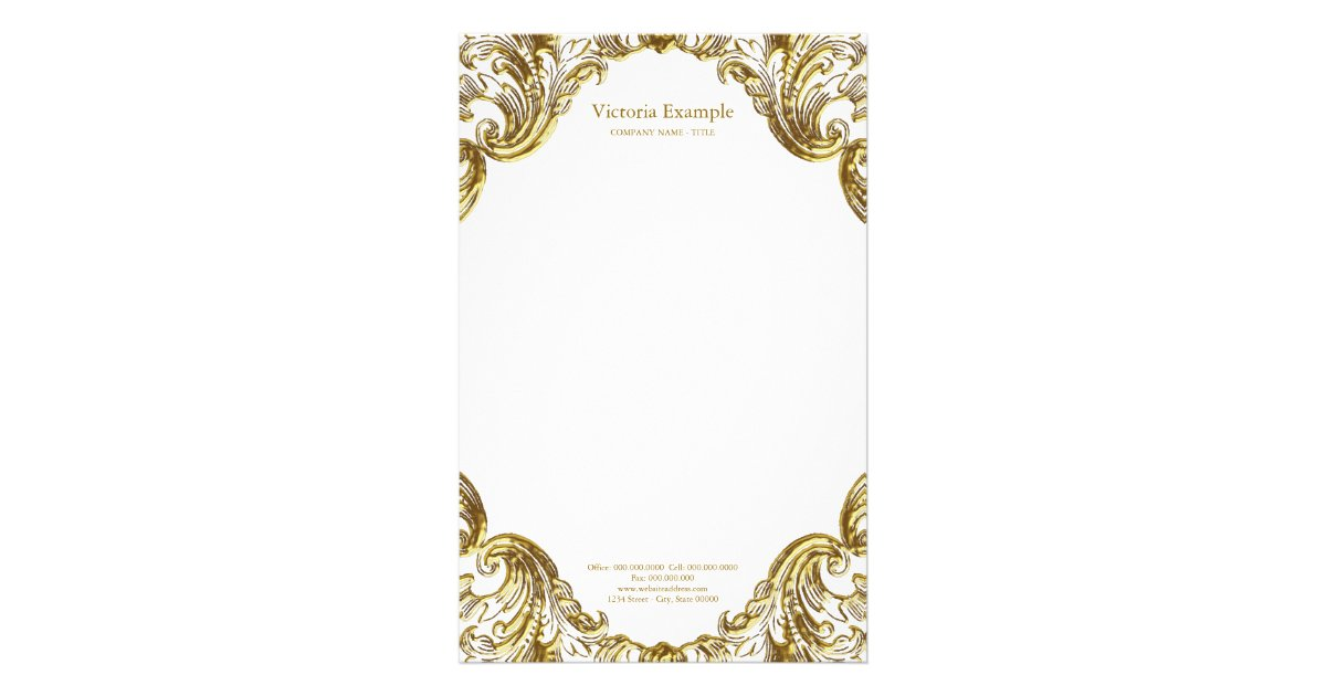 elegant fancy gold swirl stationery zazzle com