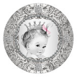 Elegant Fancy Pink and Silver Baby Girl Shower Custom Announcements