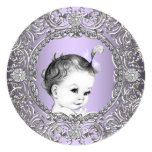 Elegant Fancy Purple and Silver Baby Girl Shower Custom Invitation