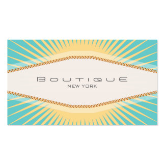 Elegant Fashion Boutique Turquoise Yellow Retro Business Card Template