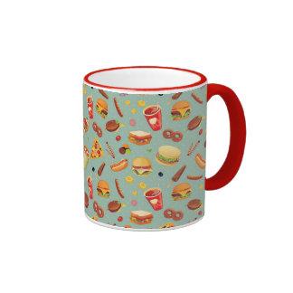 Elegant Fast Food Pattern Ringer Coffee Mug