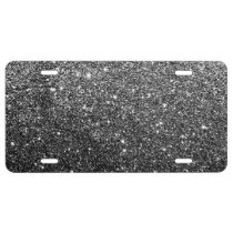 Elegant Faux Black Glitter License Plate