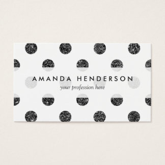 Elegant Faux Black Glitter Polka Dots Pattern Business Card
