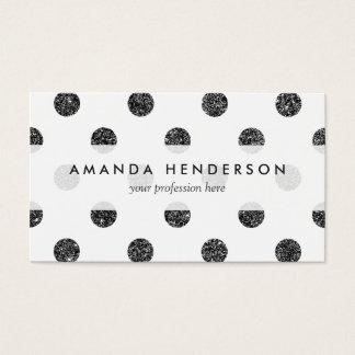 Elegant Faux Black Glitter Polka Dots Pattern Business Card