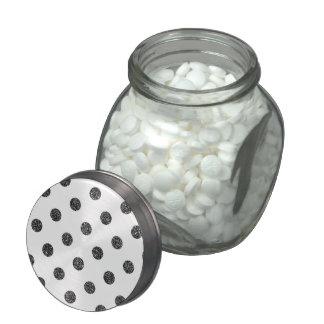 Elegant Faux Black Glitter Polka Dots Pattern Glass Candy Jar