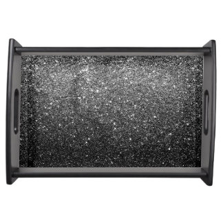 Elegant Faux Black Glitter Serving Tray