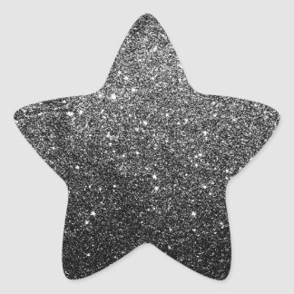 Elegant Faux Black Glitter Star Sticker