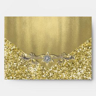 Elegant Faux Diamond Gold Glitter Foil Envelope