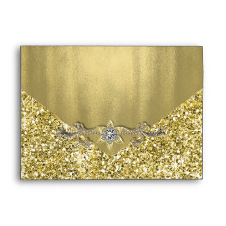 Elegant Faux Diamond Gold Glitter Foil Envelope