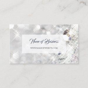 Elegant FAUX Diamond White Glitter Sparkle Business Card