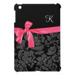 Elegant Faux Glitter Damask Girly Hot Pink Bow iPad Mini Case